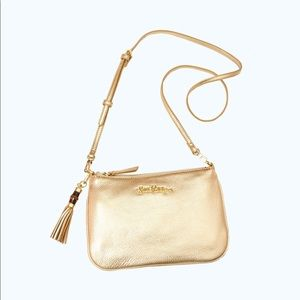 Lilly Pulitzer CRUISIN Gold Metallic CROSSBODY Bag